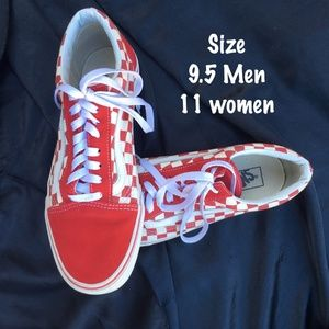VANS Red/White Primary Check Old School •  9.5/11